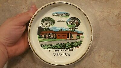 """Key, Coin Dish Ashtray West Branch Iowa State Bank 1975 Hoover Quaker 6.5"""""""