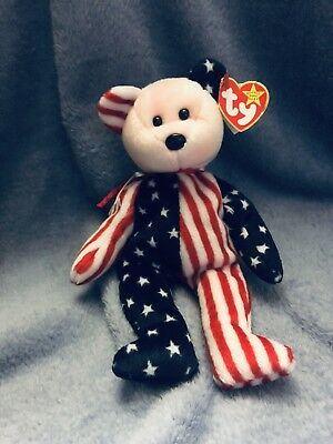 TY Beanie Baby  Spangle Bear Pink Face  Dob 1999 Red white Blue