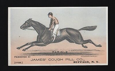 1880s Race Horse Trotter Adv Trade Card - PAROLE - James Cough Pill