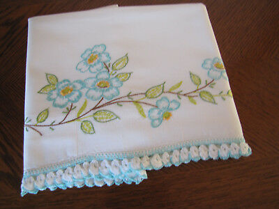 Vintage Single Pillowcase Embroidered & Crocheted Aqua Blue Cherry Blossoms Wow