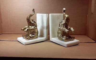 Pair (2) modernist Asian? Metal trunk up on marble bookends quality,detail
