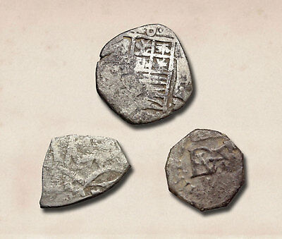 SPAIN. Lot of 3 silver Reale and Half Reale to ID (Philip)
