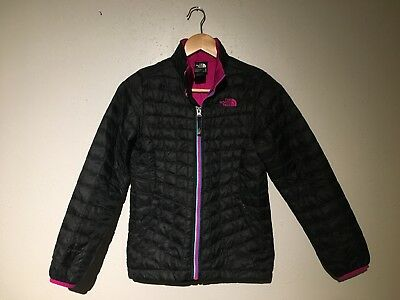 Girls North Face Winter Jacket Size M 10/12 Black with Multi Color Zipper