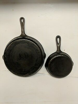 A Pair Of Vintage Cast Iron Hammered Skillets.***..FLAT***