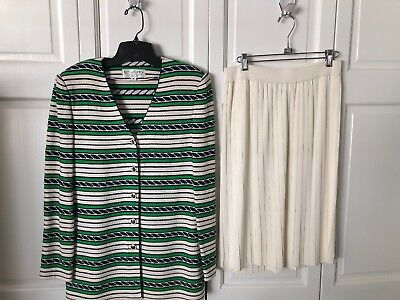 St. John Collection Green White Black Jacket White Pleated Skirt Sz 8/10 As Is