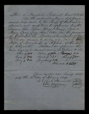 1854 Frederick, Maryland - Historic Document (SLAVE APPRAISAL by Name) - WOW !!