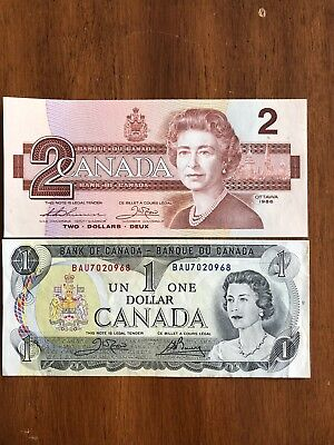 Lot Of Two Canada Bills -$1 and $2