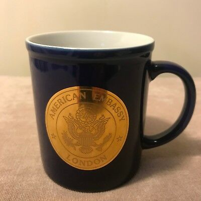 American Embassy LONDON Coffee Mug Cup Cobalt Blue White Gold Eagle US Emblem