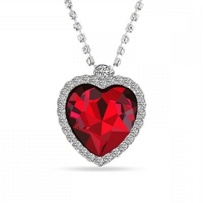 "Titanic Heart Of The Ocean Pendant Necklace Large Red Stone On 20"" Diamanté New"