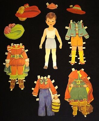 Vintage 1960 Paper Dolls with Clothes Boy and Girl 16 pieces