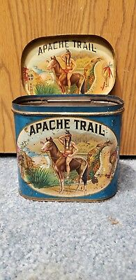 Rare Antique Vintage Apache Trail Indian Cigar Store Tin 5 Cent Store Display