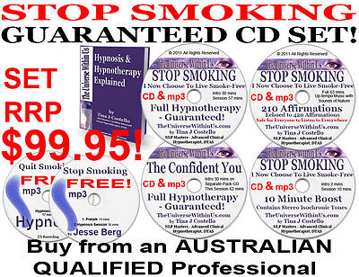 STOP SMOKING HYPNOSIS QUIT 4x CD & 5x mp3 SYSTEM CLINICAL HYPNOTHERAPY NLP TOOLS