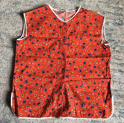 Vintage Women's Red Blue Yellow Tulip Flowers Smock Apron Medium NEW