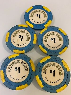 Saddle Club Lot of 5 $1 Casino Chip Ely Nevada 2.99 Shipping