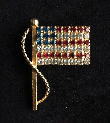 Vintage American Flag Red White Blue Rhinestone Gold Tone Brooch Pin