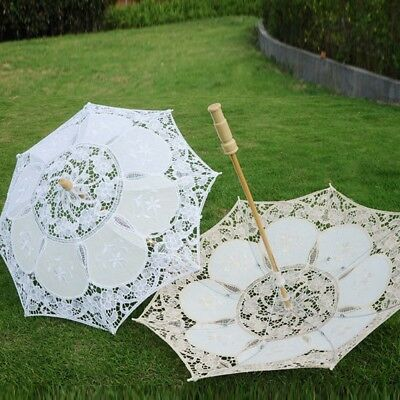 Women Lace Embroidered Sun Parasol Umbrella Bridal Wedding Party Photo Show