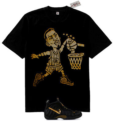New Fnly94 Lil Penny dunking shirt match Air Foamposite Pro Black Metallic Gold