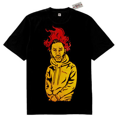 Fnly94 Kendrick Lamar Humble Flames Yellow Red tshirt rapper bape black panther