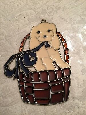 """Vintage Stained   Glass """"  Puppy Dog in a basket Suncatcher Window Ornament"""
