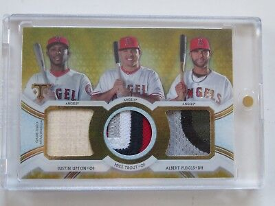 2018 Topps Triple Threads Mike Trout/albert Pujols/justin Upton Game-Used 1/9