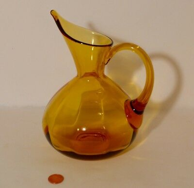 Vintage Blenko Honey Gold Optic Glass Pitcher