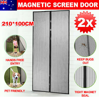 2X Magnetic Door Mesh Fly Screen Magic Magna Bug Mosquito Pest Curtain Sets