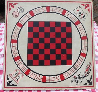 """RETRO WOODEN GAME BOARD 26"""" BLACK RED CHECKERS HORSE CAR RACE CHESS Wall Decor"""