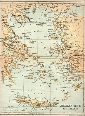 CLASSICAL Antique MAP ~ AEGAEAN Aegean SEA ~ William Hughes 1905 Philip & Son