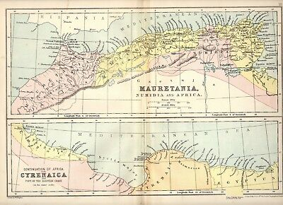 CLASSICAL Antique MAP ~ AFRICA MAURETANIA CYRENAICA ~ W Hughes 1905 Philip & Son