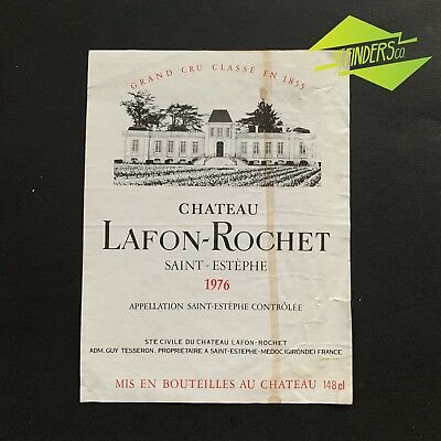 Vintage 1976 Chateau Lafon-Rochet Saint-Estephe French Wine Bottle Label