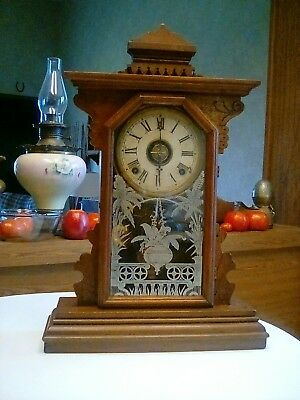 E N WELCH EIGHT DAY PARLOR CLOCK ..gongs on hour and half-hour