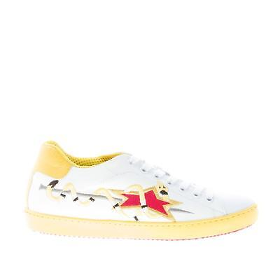 ISHIKAWA women shoes White leather Down 1494 sneaker yellow snake embroidery 38e444a9282