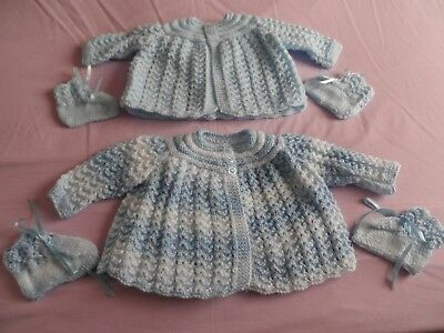 Two Hand Knitted Baby Matinee Coats  & Two Pairs Of Bootees  ( Bl1).