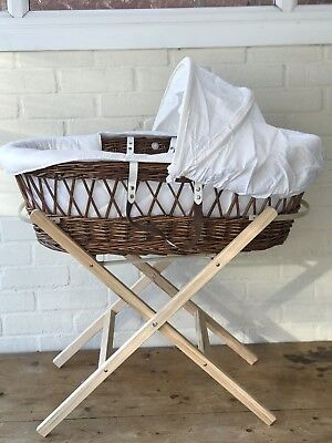 Wicker Baby Moses Basket & Rocking Stand & Baby Bath
