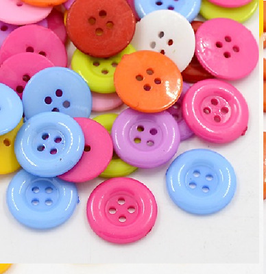 100 Bulk 18mm  Round Buttons  Craft Scrapbooking Bouquet Sewing Multi-Coloured