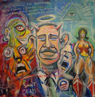 "Original Outsider Art Painting - Art Brut - Political Painting -""Obama"""