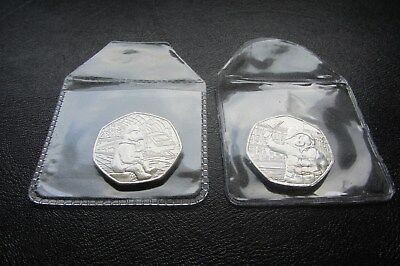 2018 PADDINGTON BEAR 50p COINS UNC x 2 (STATION & PALACE) from Sealed Bags  M56