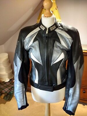 lady's two piece IXS motorcycle leathers set. , Ce EN 1261.  Black and silver
