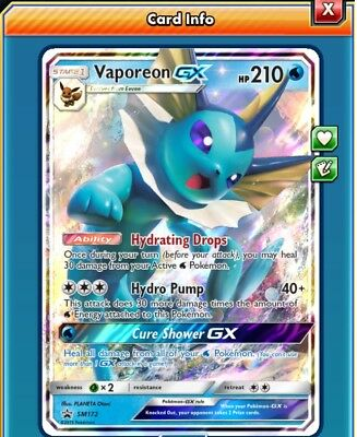 Vaporeon GX Premium Collection SM171  Pokémon TCG Online Card PTCGO - SENT FAST!