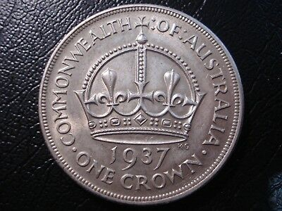 Australian 1937 Crown Sterling Silver Coin Deceased Estate Coin