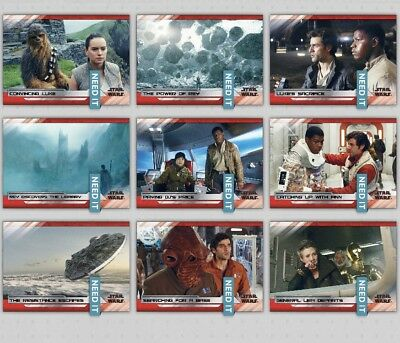 LAST JEDI SELECTS SERIES 2 WAVE 3 WHITE SET OF 9 CARDS Star Wars Trader Digital