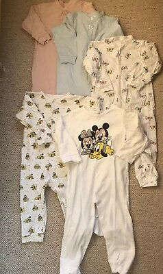 H&M Baby Toddler Girl All In One Pyjamas Sleepsuits Bundle Of 5 12 -18 Months