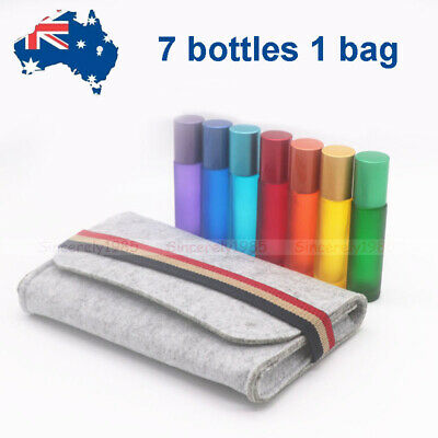 6X 10ml Glass Roll on Bottles  Big Roller for Essential Oils Perfume + Bag Case