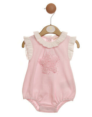 Baby Girls Adorable Spanish Style Pink Star Frilled Cotton Romper Suit SS19