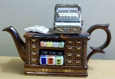 "Cardew Designs tea shop with cash register. Mini Tea Pot Teapot 4"" - England"