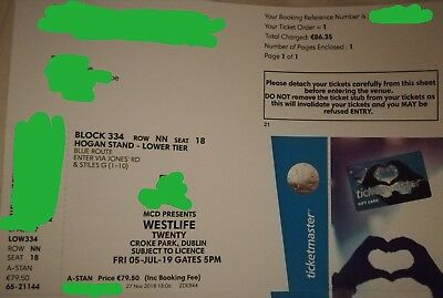 Westlife at Croke Park Dublin 05-Jul-19 Single Seated Ticket (Ticket in hand).