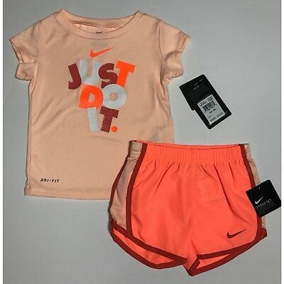 Nike Infant Girls 2 Pc Dri-Fit Tee Shirt & Dri-Fit Shorts Set Outfit 12M 18M 24M