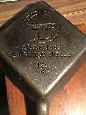 Vintage Griswold No. 129A Cast Iron Square Egg Skillet