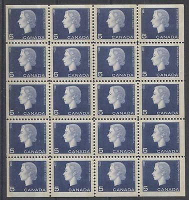 Canada #405q 1963 5c Dp. Blue Cameo Issue Tagged Miniature Pane of 25  VF-80 NH