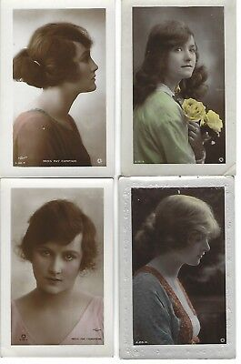 4 Vintage Postcards. 2 x Actress Fay Compton, 2 x unknown others FREEPOST